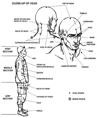 Merevedési pontok az emberi testen FIGYELMEZTETÉS